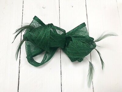 Emerald Green Feather Fascinator Hair Clip Or Hair Band Ladies Day Races Wedding • 18.99£