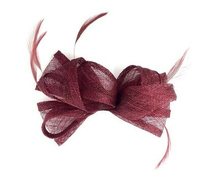 Burgundy Feather Fascinator Hair Clip / Hair Band Ladies Day Races Party Wedding • 21.99£