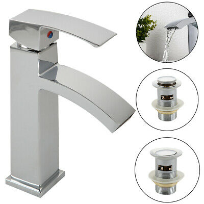 £16.99 • Buy Modern Basin Sink Tap Square Mixer Chrome Mono Blo Bathroom Cloakroom With Waste