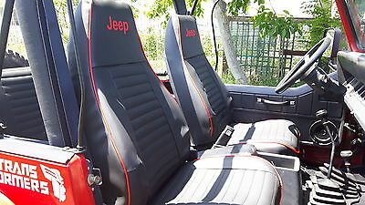 Liners Seats Car Tailored Jeep Wrangler -yj / Tj - Leatherette Owned Black • 234.37£