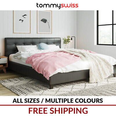 AU169 • Buy TOMMY SWISS King Queen & Double Size Modern Bed Frame In PU Leather Black Brown