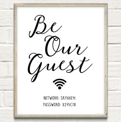 Personalised Wi-Fi Password Typography Print Poster Unframed Home Quote Internet • 4.75£