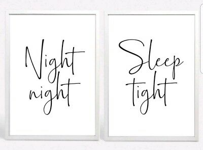 Night Sleep Tight Set 2 Typography Prints Poster Unframed Home Quote Bedroom Lov • 7.99£