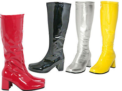 LADIES WOMENS FANCY PARTY GO GO BOOTS 60s 70s KNEE HIGH Retro Look Girls Shoes • 21.99£