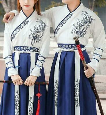 $ CDN36.92 • Buy Unisex Mens Womens Hanfu Costume Chinese Retro Style Cosplay Floral Dress Stage