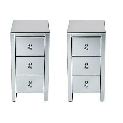 £162.95 • Buy Pair Of 3 Drawers Mirrored Glass Bedside Table Side Cabinet Crystal Handles