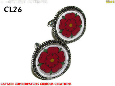 Steampunk Cufflinks Silver Lancashire Red Rose House Of Lancaster #CL26 • 7.50£