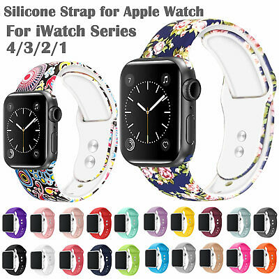 $ CDN9.45 • Buy Printed Silicone Strap For Apple Watch Series 4/3/2/1 Smart Watch Bracelet Bands