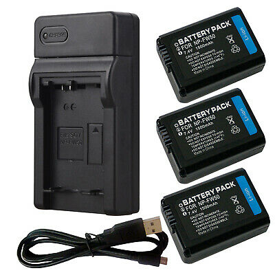 AU18.97 • Buy NP-FW50 Battery Usb Charger For Sony A6000 A6500 A6300 A7R A55 A5100 RX10 A5000