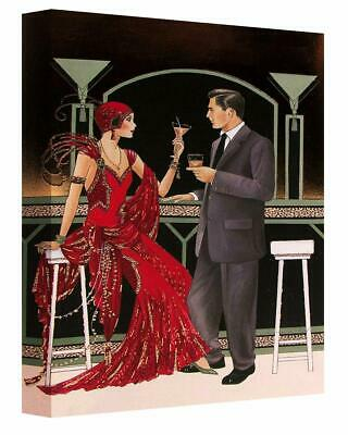 Canvas Wall Art Print Of Art Deco Couple At Cocktail Bar Picture Painting • 14.99£