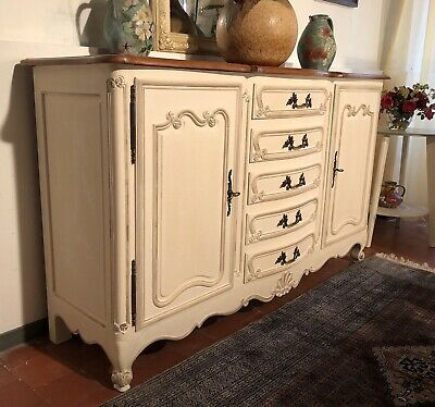 Vintage French Buffet Side Board Country Cabinet Painted In Antique White • 695£
