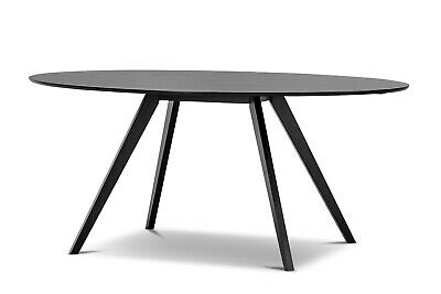 AU529 • Buy Contemporary Oval Dining Room Table 180cm In Modern Matt Black Timber Wood Oak