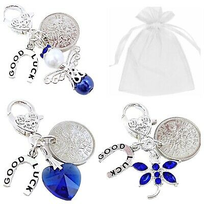 £2.95 • Buy SOMETHING BLUE, CLIP ON CHARM, BRIDE WEDDING Gift LUCKY SIXPENCE, CHOICE