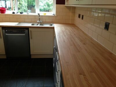Solid Oak Kitchen Worktop ✔ Real Wood ✔ 2m 3m 4m ✔ Breakfast Bars • 195.50£