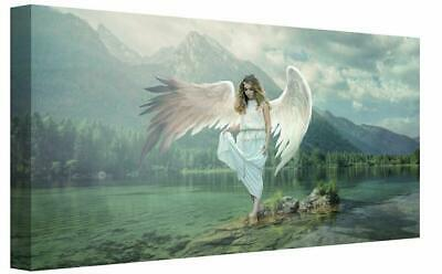 Fantasy Angel Walking On Lake Landscape Mountains Canvas Wall Art Picture Framed • 22£