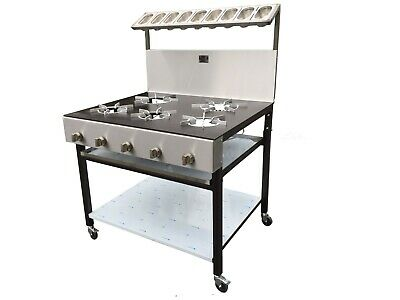 5 Burners Commercial Natural Gas Cooker Solid Pop Plate • 899£