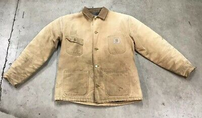 634c7b65e6e664 Vintage 1980's Carhartt Blanket Lined Tan Barn Chore Coat Jacket Made In USA  L • 49.99