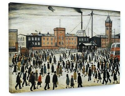 L S Lowry Going To Work Canvas Picture Print Wall Art D51 • 25.29£