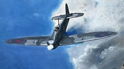 £45 • Buy Beautiful Vintage Hand Painted Hurricane Spitfire Painting On Board *
