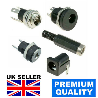 Dc Power Socket Jack Connector Male Female Panel Mount Pcb 1.3/2.1/2.5mm X 5.5mm • 4.95£