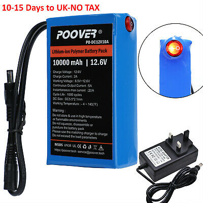 10A 7A 12V DC Battery Pack Rechargeable Li-ion Battery Polymer Lithium +Charger • 39.99£