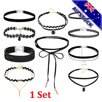 AU12.96 • Buy Sexy Gothic Lace Up Punk Gothic Choker With Vintage Velvet Leather Necklace Set