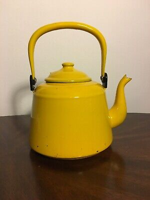 $39.99 • Buy Vintage Antique Yellow Enamel Coffee TeaPot With Yellow Handle. Blue Inside.