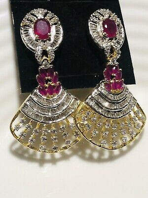 Fantastic Gold Indian Earrings With Pink Gym Decorative Bridal Jewellery • 12.99£