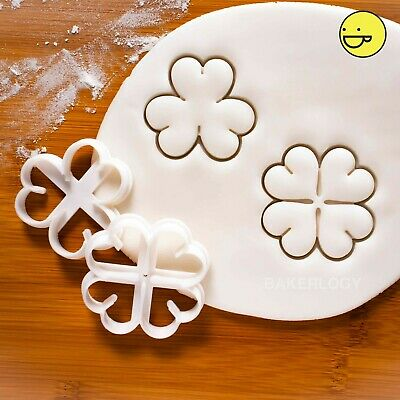 Set Of 2 Clover Cookie Cutters | 3 Leaf 4 Lucky Shamrock St Patricks Day Ireland • 9.21£