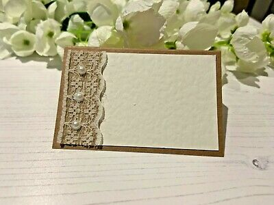 Rustic Place Cards Write Your Own Names - Hessian Ribbon With Lace & Pearls • 6£