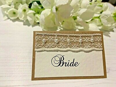 Rustic Place Cards Personalised With Names - Hessian Ribbon With Lace & Pearls • 7£