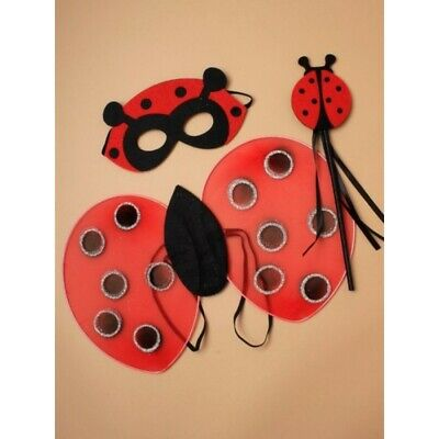 Childrens Ladybird Costume Wings Wand And Mask Fancy Dress Ladybug Outfit • 4.49£