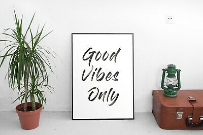 Good Vibes Only Brush Pen Type Cute Wall Décor Sign Poster Print Free Postage • 5£