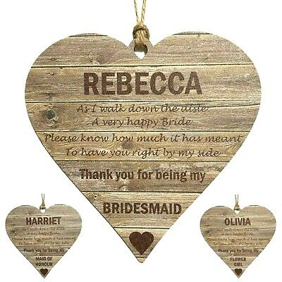 £8.99 • Buy Personalised Bridesmaid Gifts Wooden MDF Hanging Heart Thank You For Being My ..