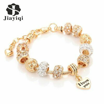 I Love You Charm Pandora Bracelet Made With Antique Gold Plated Heart Bangles • 6.56£
