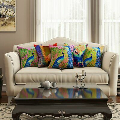 Multi-Color Peacock Print Cushion Cover Waist Throw Pillow Case Set Of 5 • 20.99£