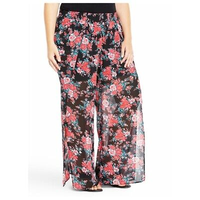 b3c77cb536c TORRID Wide Leg Palazzo Pants Size 0 Or Large 12 Sheer Leg With Floral  Print •
