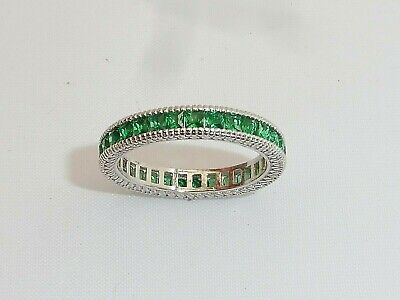 £38.50 • Buy Ladies Hand Made 925 Solid Silver Princess Cut Green Emerald Full Eternity Ring