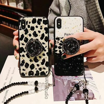 For IPhone XR Xs Max 7 8+ Cute Bling Diamond Love Leopard Stand Strap Phone Case • 5.58£