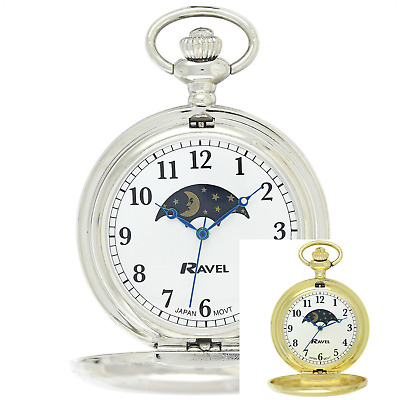 £24.99 • Buy ** Polished Sun / Moon Pocket Watch By Ravel