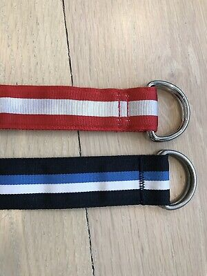 $20 • Buy Brooks Brothers Boys Striped Ribbon Belts Lot Of 2 Red Blue D-Link Grosgrain 29""