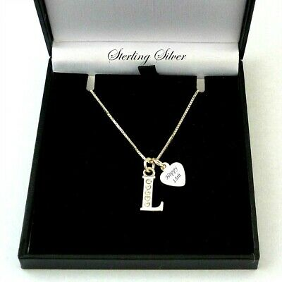 Sterling Silver Letter Necklace With Engraving & CZ Gems For Women Or Girls • 24.99£