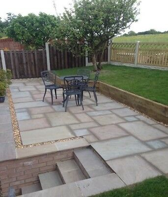 Natural Indian Sand Stone Paving RAJ GREEN Patio Slabs 25mm To 35mm Hand Cut • 18£