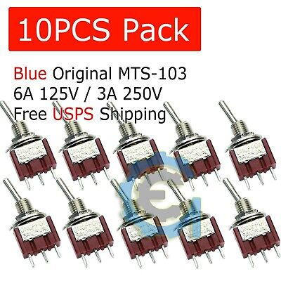 10 PCS MTS-103 Latch Mini Toggle Switch 125VAC 6A ON-OFF-ON 3 Positions SPDT M64 • 4.49$