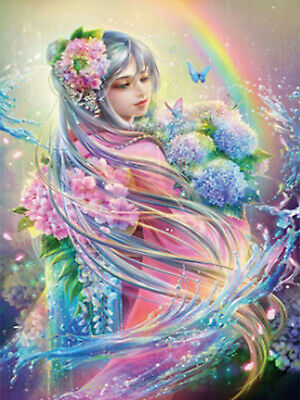 AU13.19 • Buy Full Drill Diamond Painting Girl Rainbow Butterfly Handicraft Embroidery 6587H