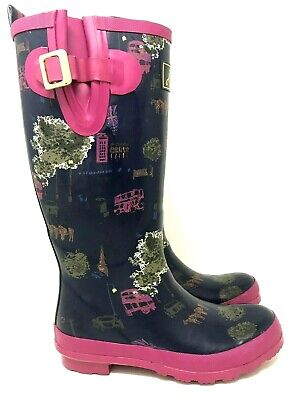 JOULES WELLY Navy Blue/Pink London Rubber Pull On Tall Rain Boots Women's Size 8 • 35$