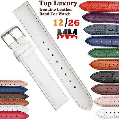 £2.99 • Buy Genuine Leather Watch Strap Replacement Band UK 15mm 16mm 18mm 20mm 22mm 24mm
