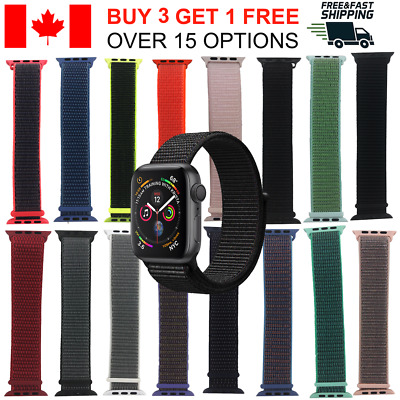 $ CDN9.45 • Buy Sports Loop Band For Apple Watch Nylon Woven Strap For IWatch Series 4 3 2 1