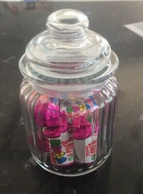 Small Glass Vintage Retro Sweet Jar Wedding Favours Candy Buffet Decoration 13cm • 2.99£