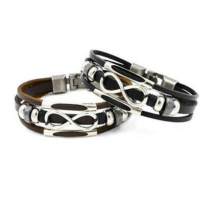 Men Ladies Genuine Leather Bracelet Infinity With Spacers & Antique Style Clasp  • 3.75£